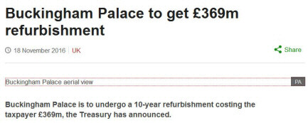 Screenshot of BBC news: 'Buckingham Palace to get £369m refurbishment