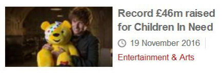 Screenshot of BBC news: 'Record £46m raised for Children In Need'
