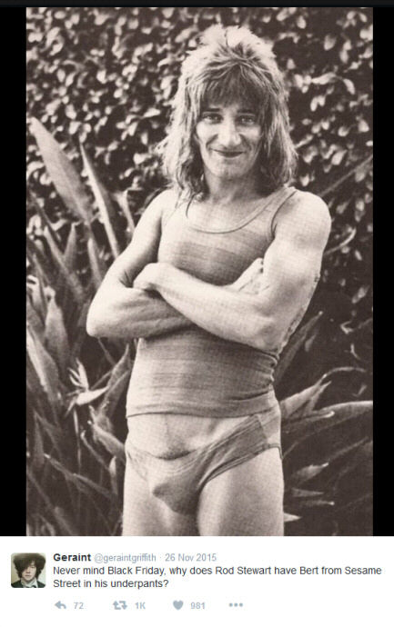 Photo of Rod Stewart wearing briefs which looks like he has Bert from 'Sesame Street' concealed in them
