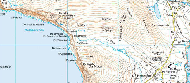 Part of a map of the isle of Foula, showing a lot of place names beginning with 'Da'