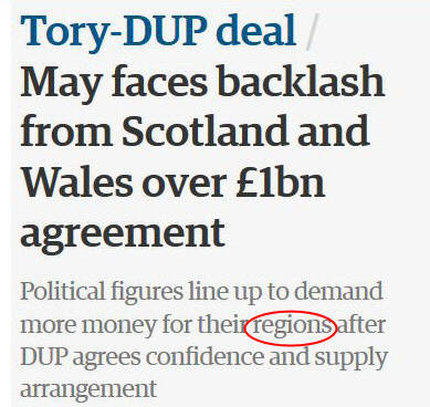 Screenshot from 'Guardian' website describing Wales and Scotland as 'regions'