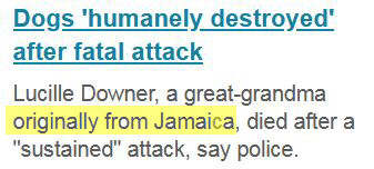 Another screenshot from BBC News a day after the first one, again stating that the victim of the dog attack in Rowley Regis was 'originally from Jamaica'