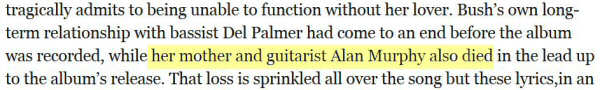 Screenshot from the 'Guardian' referring to Kate Bush's 'mother and guitarist Alan Murphy'