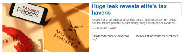Screenshot from BBC News website with headline 'Huge leak reveals Elite's tax havens