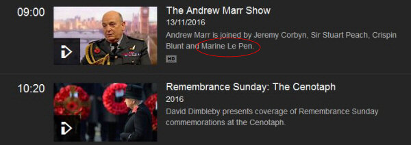 Screenshot from the BBC TV website showing its coverage of the Remembrance Day ceremony preceded by an interview with Marine Le Pen, leader of the Front National