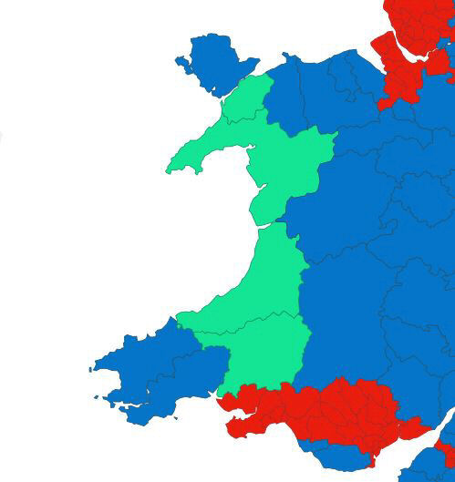 Map of Wales showing the party colours