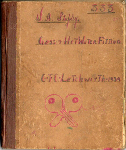 Scan of the front of an old notebook