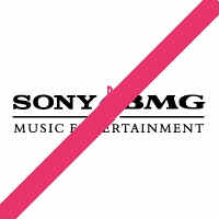 Sony-BMG logo with a red diagonal line through it