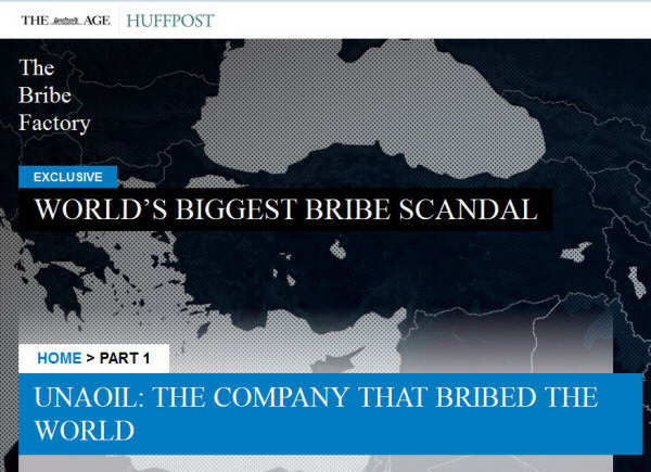 Screenshot from the Sydney Morning Herald with the headline, 'Unaoil: The Company That Bribed The World'
