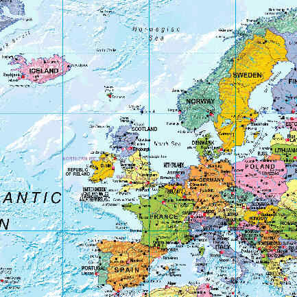 Map of Europe showing Scotland as an independent country