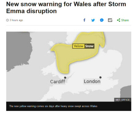 Screenshot from the BBC website forecasting 'Yellow' 'Snow'