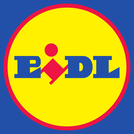 Logo Lidl, efo'r 'L' gyntaf wedi'i throi'n 'P' / Lidl's logo, with the first 'L' replaced by a 'P'
