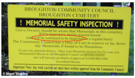 Sign saying that gravestones 'will be continued to be inspected'