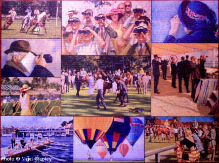 Photo of a completed jigsaw puzzle showing various summer sporting activities