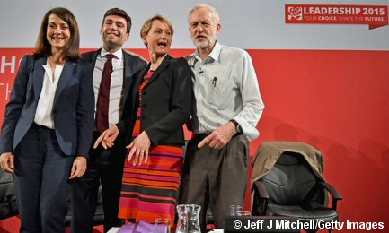 Photo of the Labour Party leadership contenders standing in a line