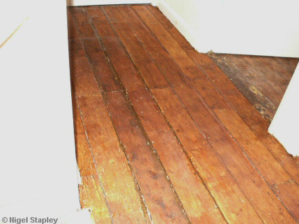 Photo of stained floorboards