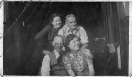 Black and white photo of a family group