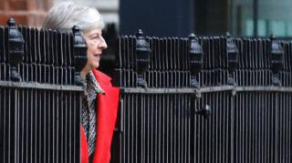 Photo of Theresa May which looks like she's part of the railings outside 10 Downing Street