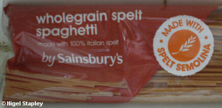 Picture of a packet of pasta described as 'Wholegrain spelt spaghetti'