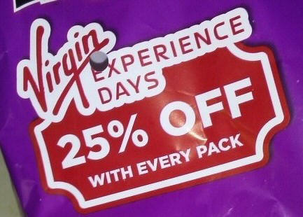 Bag of crisps advertising 'Virgin Experience Days'
