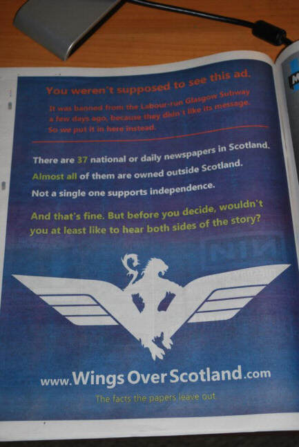 Photo of the slightly amended ad (including how it was banned from SPT) as it appeared in today's 'Metro'