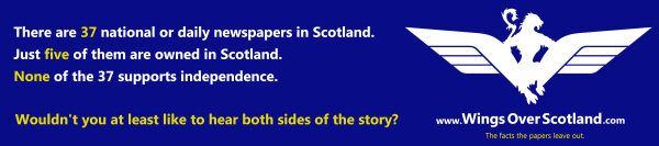 Subway advert pointing out that the Scottish print media is largely owned from outside Scotland, and that all daily newspapers in Scotland are anti-independence